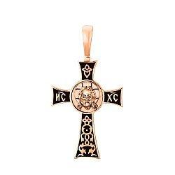 Крест из красного золота без распятия с чернением 000130799