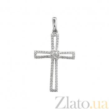 Крест из белого золота с бриллиантами Открытость 000026737