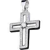 Крест из серебра Путеводная Звезда с фианитами