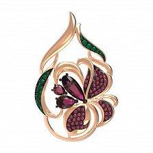 Золотой кулон Сказочный цветок с рубинами и разноцветными фианитами