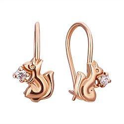Золотые сережки Белочки с фианитами-орешками 000071542