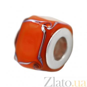 Серебряный шарм Мармелад с красным муранским стеклом 000081723