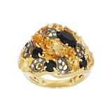 Золотое кольцо с ониксом, цитрином и фианитами Анима