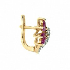 Золотые серьги с бриллиантами и рубинами Алиша