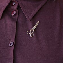 Серебряная брошка Ножницы с винтиком-фианитом