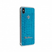 Apple iPhone X Noblesse AZURE SWISS в белом золоте и голубой коже питона