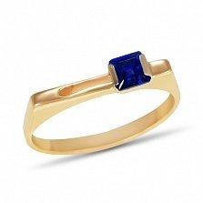 Золотое кольцо Полетт с синтезированным сапфиром