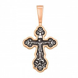 Серебряный крестик с позолотой и чернением 000136320