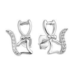 Серебряные пуссеты с белым цирконием 000106911