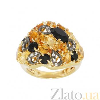 Золотое кольцо с ониксом, цитрином и фианитами Анима 2К138-0094