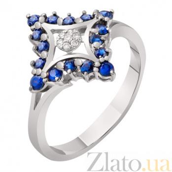 Кольцо с сапфирами и бриллиантами Атлантида KBL--К1857/бел/сапф