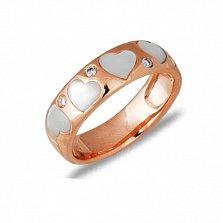 Кольцо Романтика из красного золота с бриллиантами и перламутром