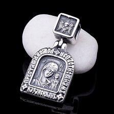Серебряная ладанка Богородица Казанская с чернением