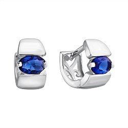Серебряные серьги-конго с синими фианитами 000120555