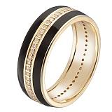 Золотое кольцо Адвента в желтом цвете с бриллиантами и черной или белой эмалью