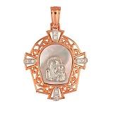 Золотая ладанка Богородица с перламутром и фианитами