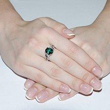 Серебряное кольцо Заира с зеленым кварцем и цирконием