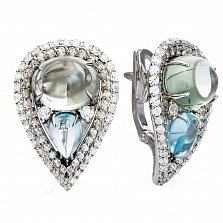 Серебряные серьги с цветным кварцем и топазами Айше