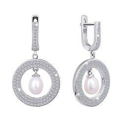 Серебряные сережки с жемчугом и цирконием 000024620