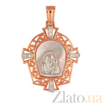 Золотая ладанка Богородица с перламутром и фианитами VLT--Е3439