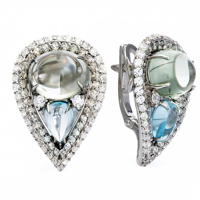 Серебряные серьги с цветным кварцем и топазами Айше 000030213