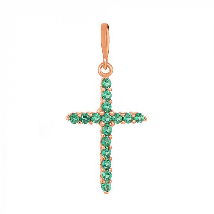 Серебряный крестик Марлен с зелеными фианитами и позолотой 000034080 000034080