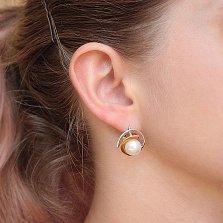 Серебряные серьги Орбита с белым жемчугом и золотыми накладками
