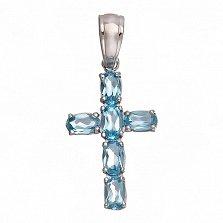 Серебряный крест Счастье с голубыми топазами
