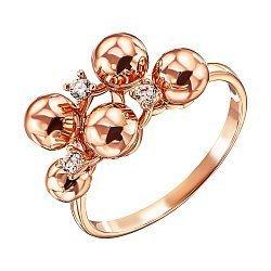 Кольцо из красного золота с фианитами 000138363