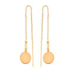 Золотые серьги-протяжки Диски в геометрическом стиле 000091578
