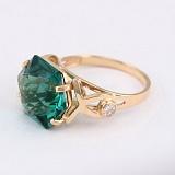 Золотое кольцо Октагон с синтезированным аметистом и фианитами