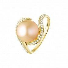 Кольцо в желтом золоте Микимото с золотистым жемчугом и бриллиантами