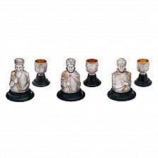 Набор бронзовых интерьерных рюмок Гетманы с серебрением и позолотой на мраморных подставках (3 шт)