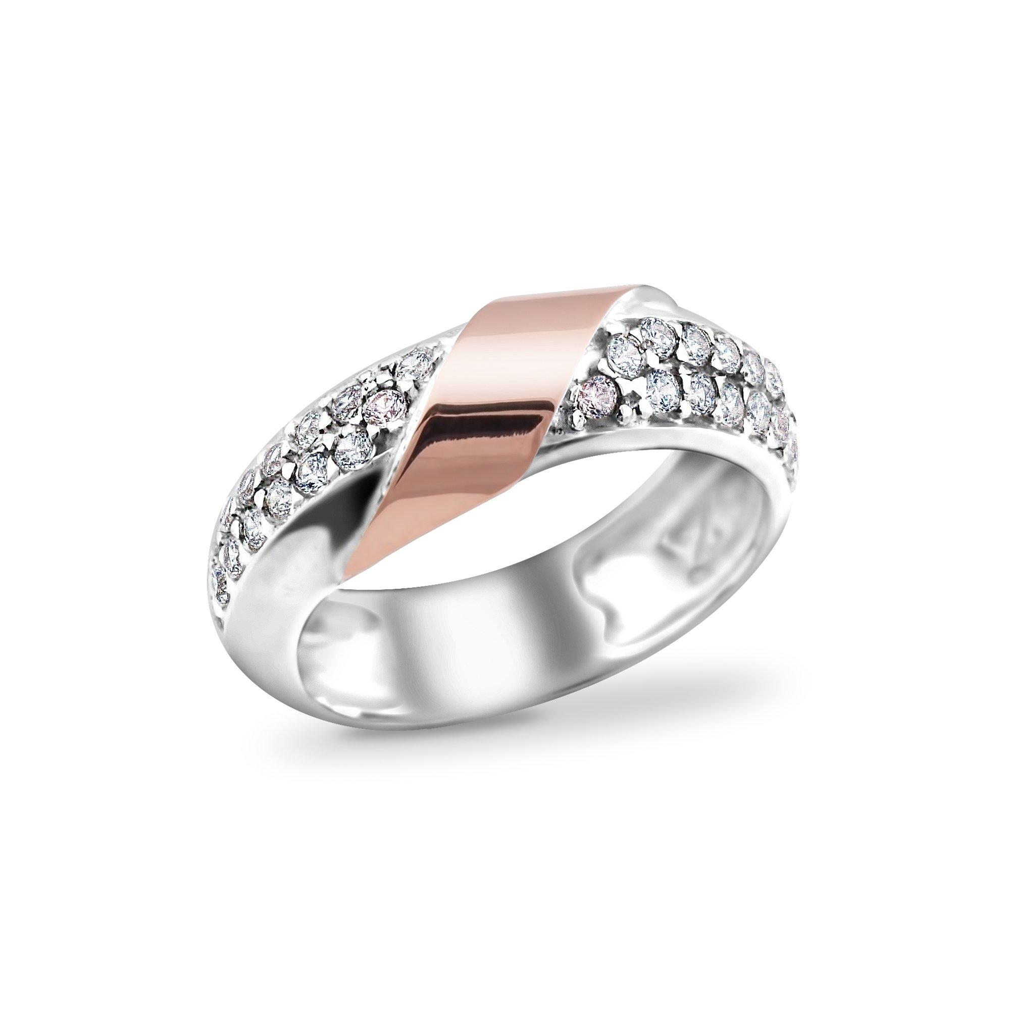 Серебряное кольцо Саманта с золотой накладкой с фианитами