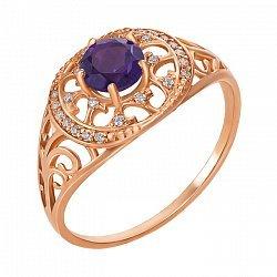 Кольцо из красного золота с аметистом и фианитами 000138827