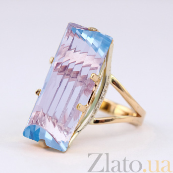 Золотое кольцо с голубым топазом и фианитами Одетта VLN--112-1266-1