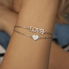 Серебряный браслет на двойной цепочке Love с фианитами