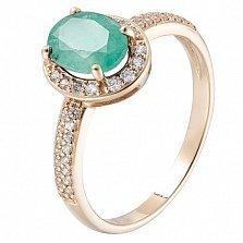 Золотое кольцо Меридит с изумрудом и цирконием