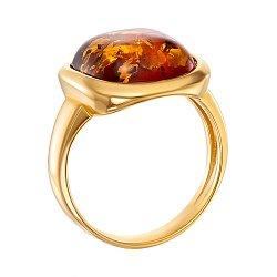 Серебряное кольцо с янтарем и позолотой 000137656