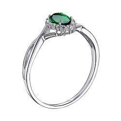 Серебряное кольцо с изумрудом и фианитами 000127680