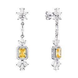 Серебряные серьги-подвески с желтыми и белыми фианитами 000134021