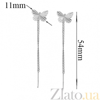 Серебряные серьги-цепочки Бабочки LEL--83011