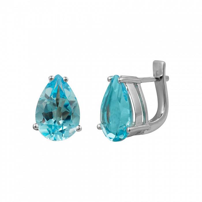 Серебряные серьги Фанни с голубым топазом 000081864