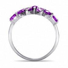 Золотое кольцо Батерфляй в белом цвете с синтезированными аметистами и белыми фианитами