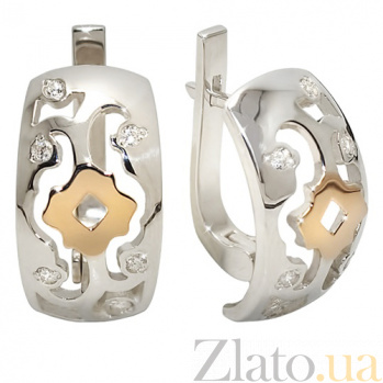 Серебряные серьги с золотыми вставками и цирконием Валерия BGS--681с