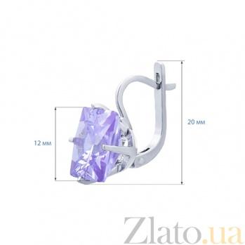 Серебряные серьги с лиловым цирконом Грэйс AQA--72052л