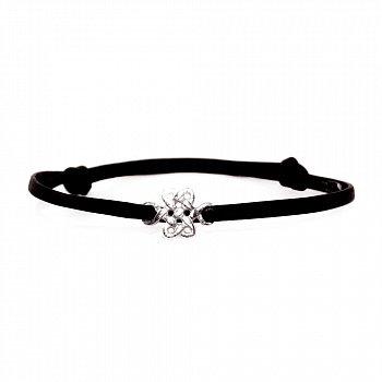 Кожаный браслет с серебром Mystic knot Black с чернением 000091317