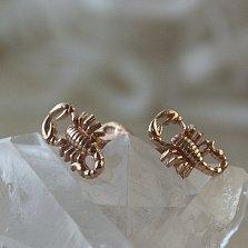 Позолоченные серебряные сережки-гвоздики Скорпионы