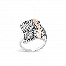 Серебряное кольцо Эрнеста с золотой накладкой и фианитами