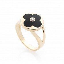 Золотое кольцо Ночной цветок с черной эмалью и цирконием в стиле Ван Клиф